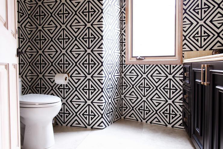 White And Black Geometric Wallpaper On Bath Walls