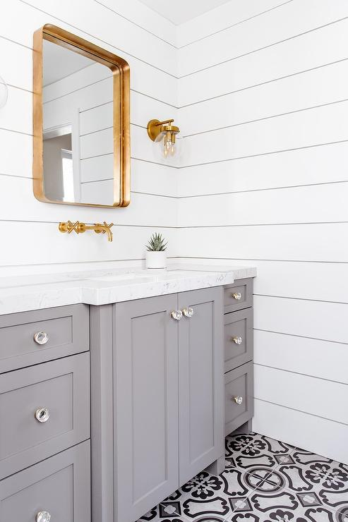 Bathroom With Shiplap Wainscoting Cottage Bathroom
