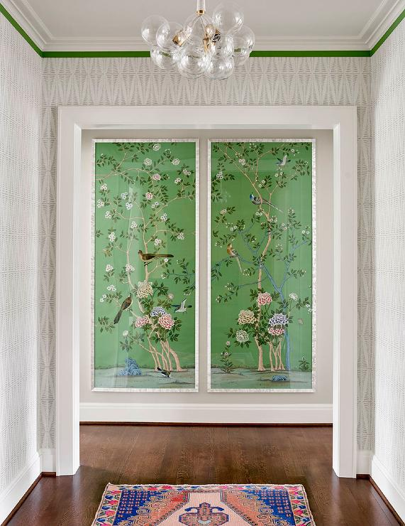 Green Fabric Chinoiserie Wall Panels Transitional Entrance Foyer
