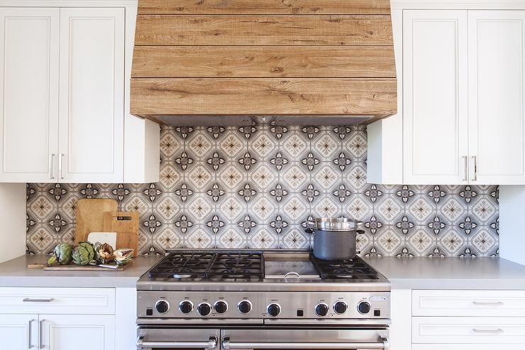 Gray Kitchen With Gray Marble Backsplash Tiles
