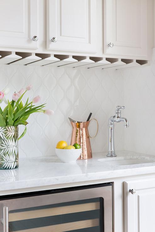 Backyard Gas Fire Pit Ideas, White Arabesque Wet Bar Backsplash Tiles Transitional Kitchen