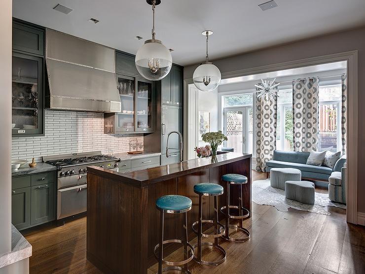 Blue Subway Tiles Contemporary Kitchen Anne Chessin Designs