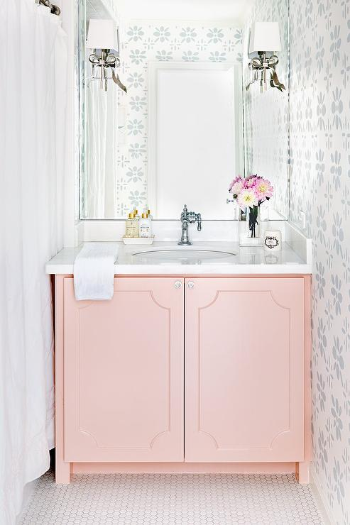 Pink Cabinets Traditional Bathroom Benjamin Moore