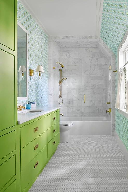 Lime Green Campaign Bath Vanity With Brass Inset Pulls