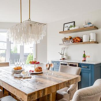 Stained Oak Wooden Floating Dining Room Shelves Design Ideas