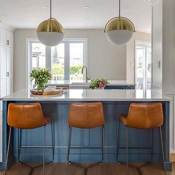 Blue Island With White Glass And Brass Globe Lights