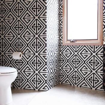 Geometric Wallpaper Contemporary Bathroom Donna