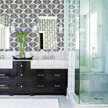 'Glossy Black Dual Bath Vanity with Frameless Mirrors' from the web at 'https://cdn.decorpad.com/photos/2017/09/25/m_clarke-and-clarke-leaf-foliage-vine-wallpaper.jpg'