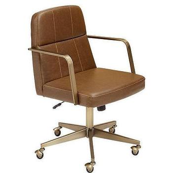 Draper Faux Brown Leather Office Chair