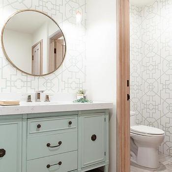Savvy Interiors · Mint Green Washstand With Green Bamboo Lattice Wallpaper