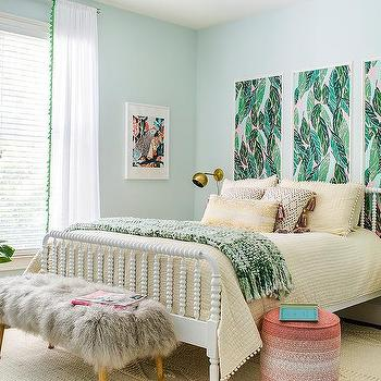 Pink And Green Bedroom Art Panels Design Ideas