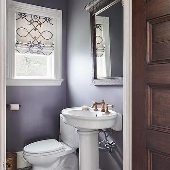 Black and white powder room with brushed gold faucet for Purple and gold bathroom ideas