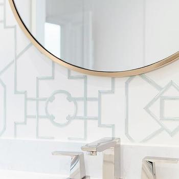 Thibaut Bamboo Lattice Aqua Wallpaper Design Ideas