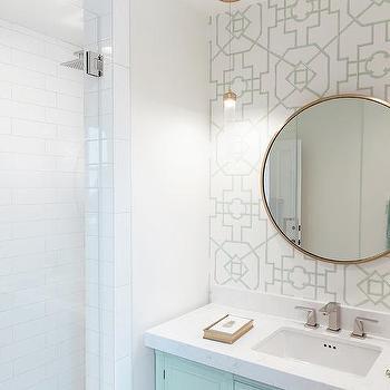 Savvy Interiors · Round Gold Mirror With Mint Green Lattice Wallpaper