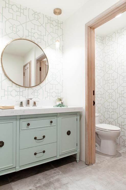Mint Green Washstand With Green Bamboo Lattice Wallpaper