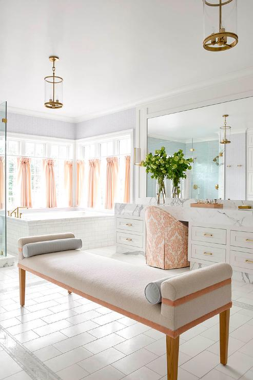 Light Orange Accents In White Master Bathroom Transitional