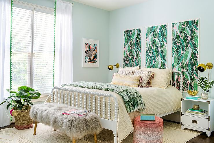 White Jenny Lind Bed with Pink and Green Art Panels ...