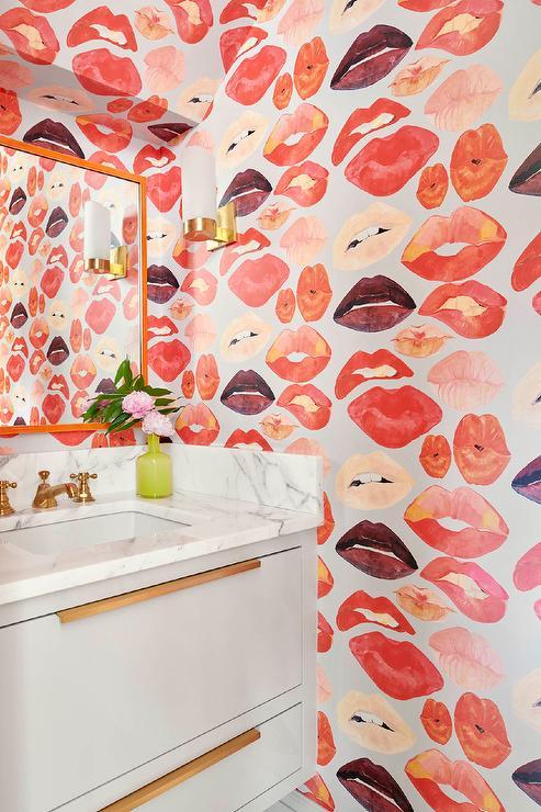 Voutsa Lips On Silver Wallpaper Contemporary Bathroom