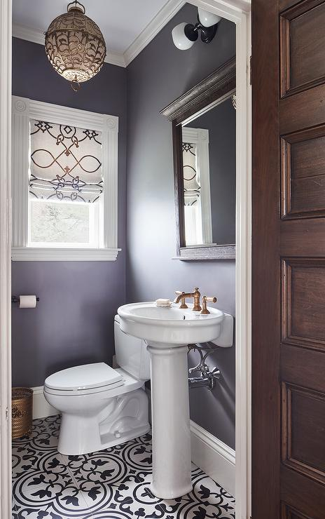 Purple Powder Room With Parisian Pedestal Sink