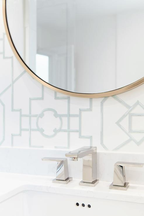 Round Gold Mirror With Mint Green Thibaut Bamboo Lattice Aqua Wallpaper Is The Perfect Contrast To A Transitional Bathroom Design