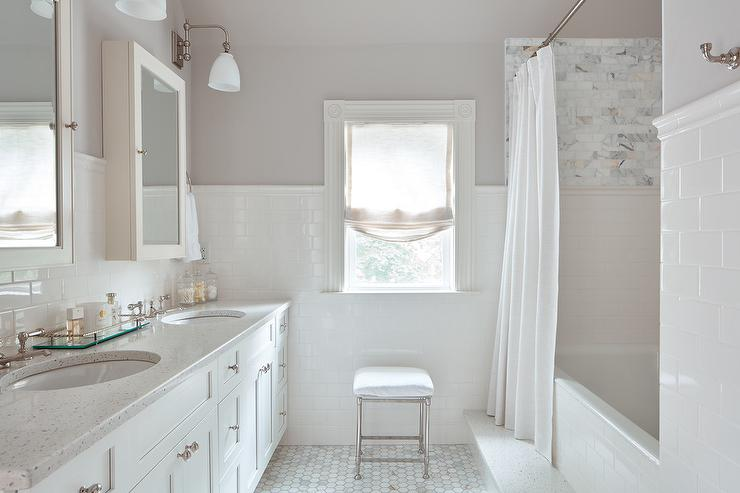 Charming Gray Bathroom Colors Part - 7: White And Light Gray Bathroom Colors
