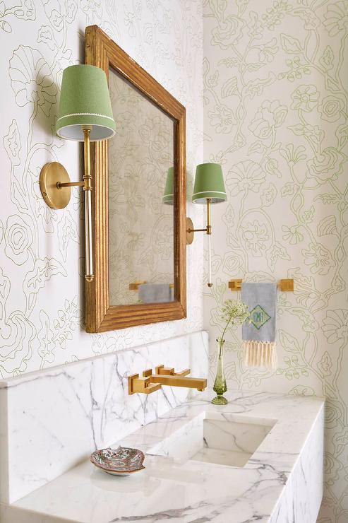 Marble Sink With Wall Mount Gold Faucet Transitional