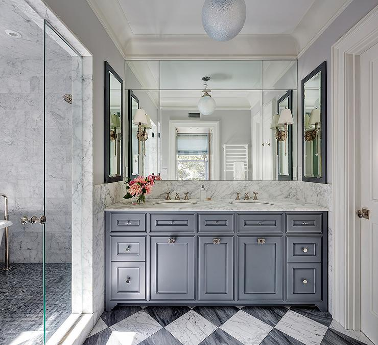 steel gray bath vanity with white and gray marble harlequin tiles