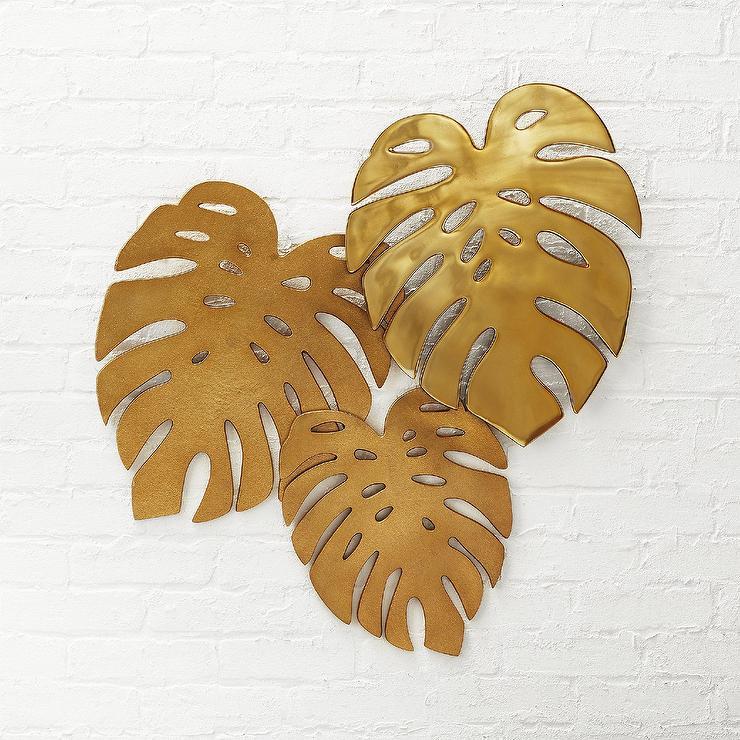 Monroe Monstera Brass Leaves Wall Decor