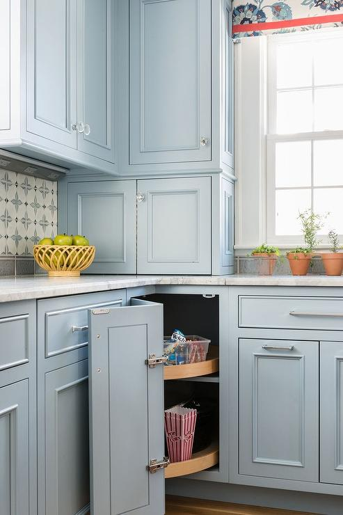 Cornflower Blue Cabinets with Glass Knobs - Transitional - Kitchen