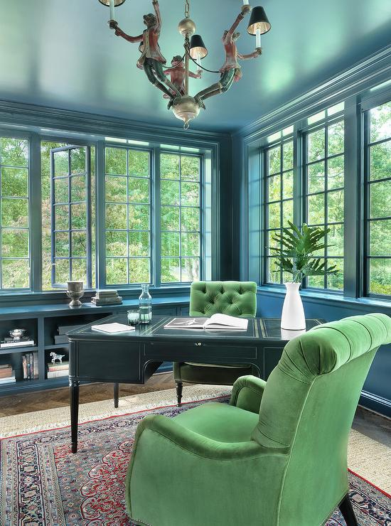 Best Living Room Colors >> Peacock Blue Walls - Contemporary - den/library/office - Benjamin Moore Nocturnal Gray - Niche