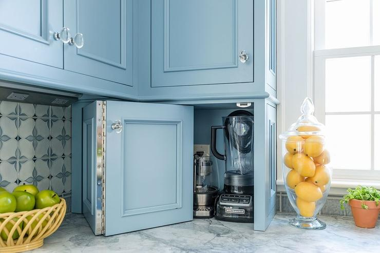 Folding Blue Cabinet Doors To Small Appliances Cabinet