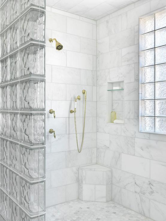 Glass Block Shower Partition