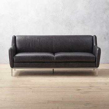 Alfred Extra Large Black Leather Chrome Sofa