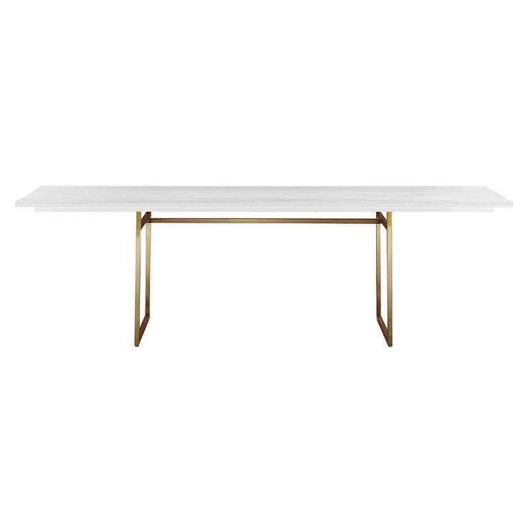 Carmen Mango White Wood Brass Dining Table
