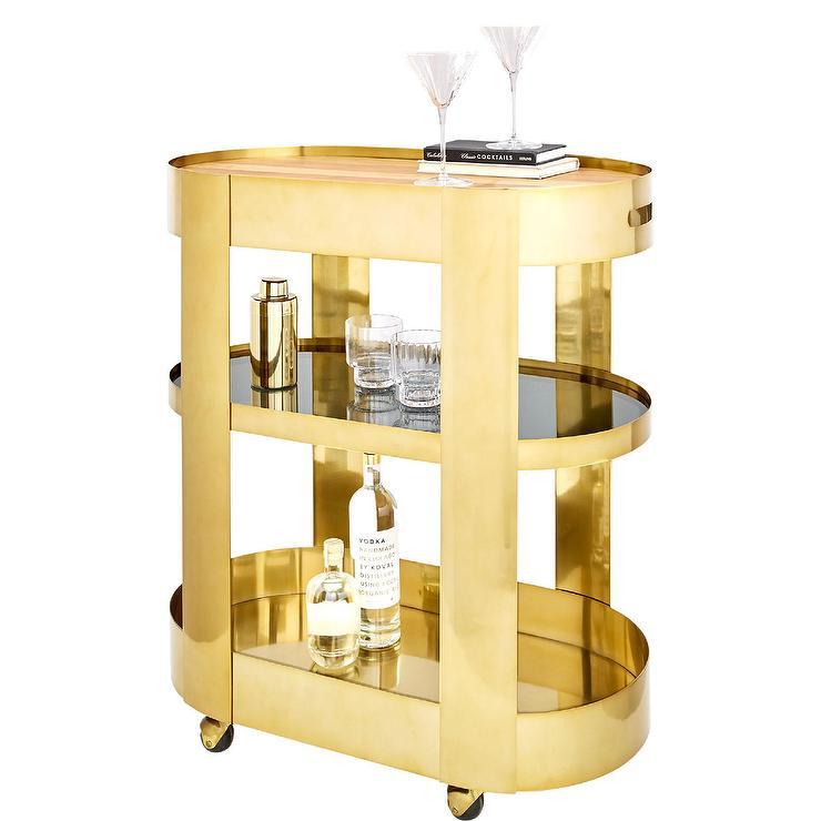 oval brass glass bar cart. Black Bedroom Furniture Sets. Home Design Ideas