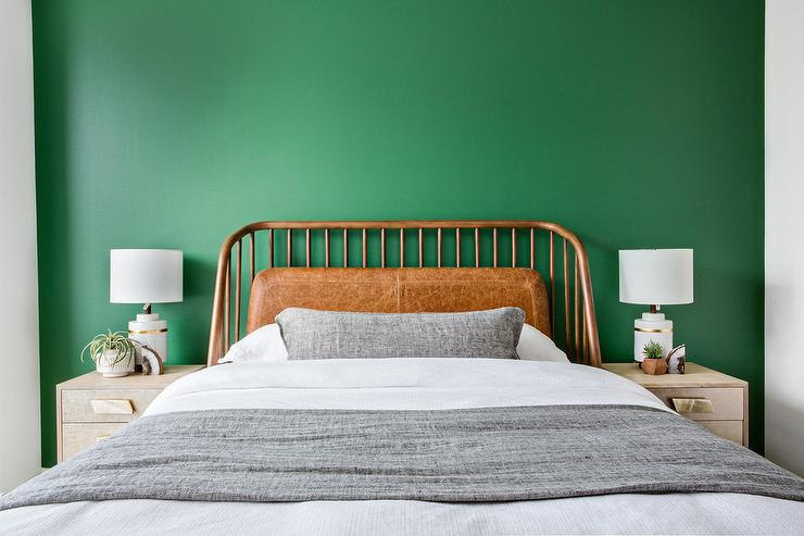 Kelly Green Wall with Gray Nightstands - Transitional - Bedroom