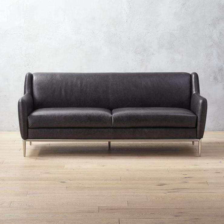 Alfred Black Leather Wingback Sofa