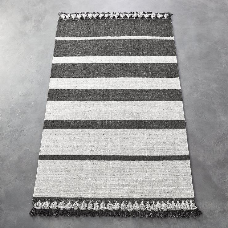 Zenith Gray Flatweave Striped Rug