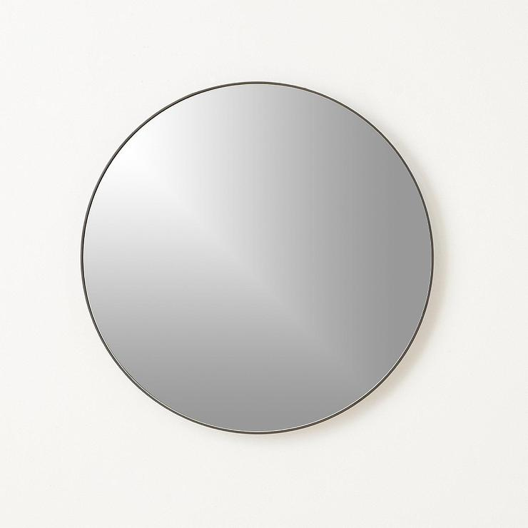 Thin framed bronze and black mirror for Round black wall mirror