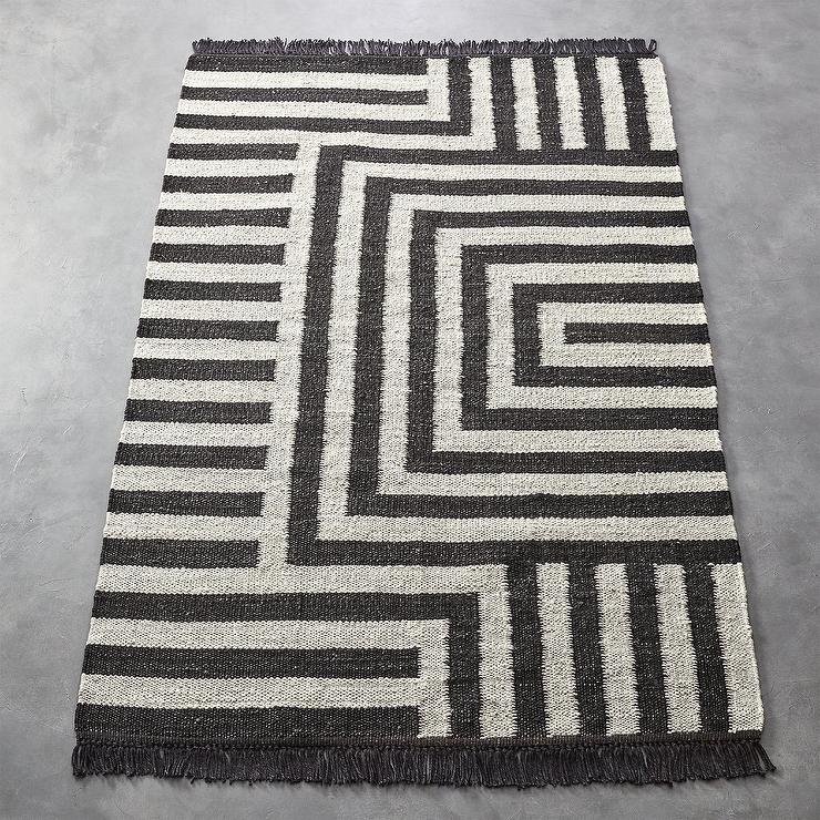 Ways Jute Black White Striped Rug