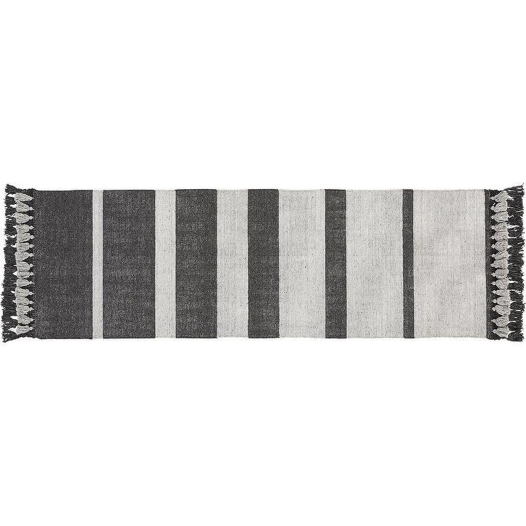 zenith gray striped tassel fringe runner