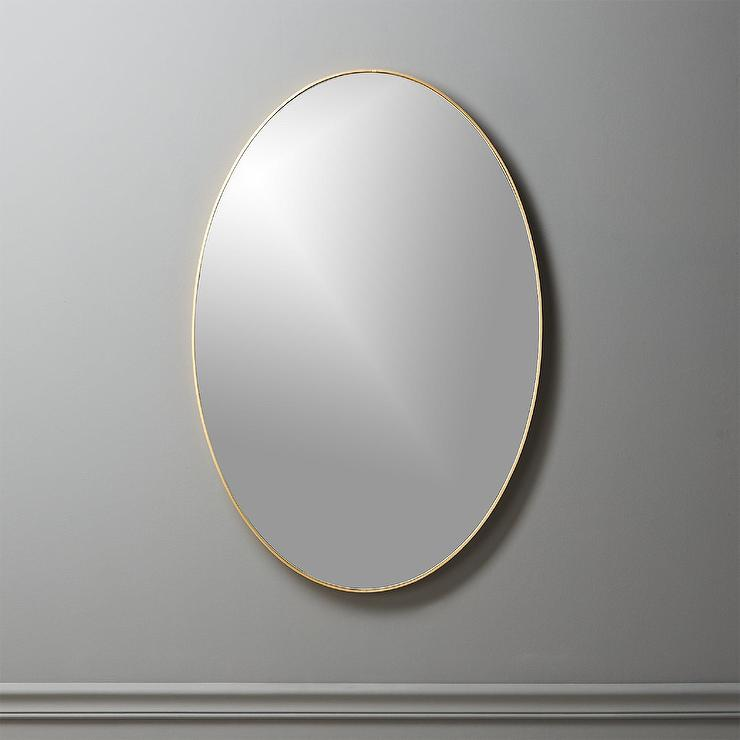Oval brass capped acrylic wall mirror for Thin wall mirror