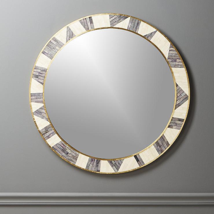 Grace White Gray Bone Inlay Floor Mirror
