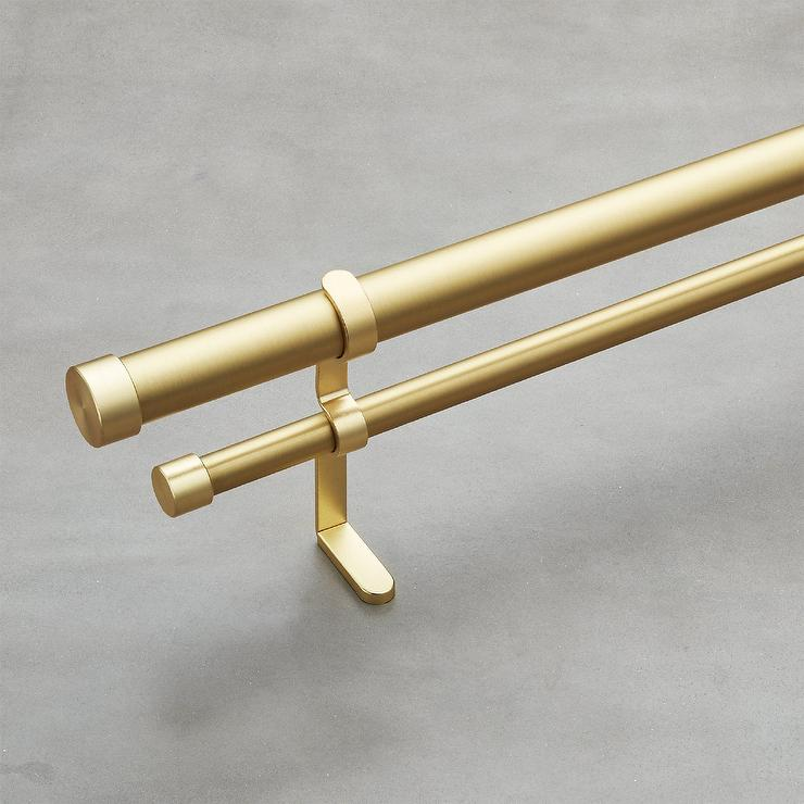 Brushed Brass Double Rod Curtain Set