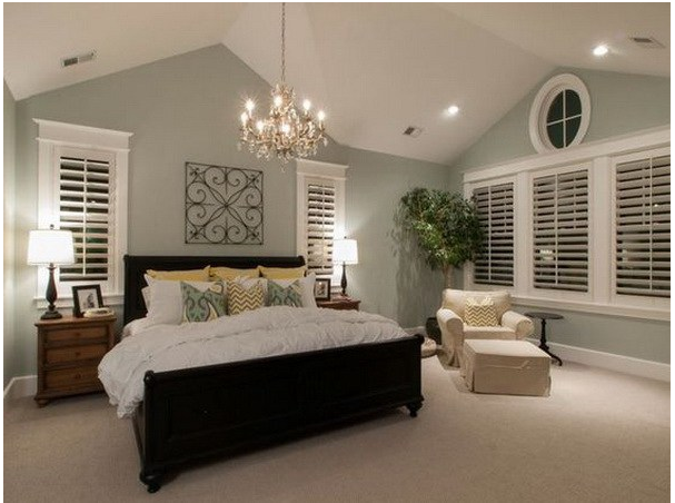 Light Green Walls Cathedral Ceiling Master Bedroom