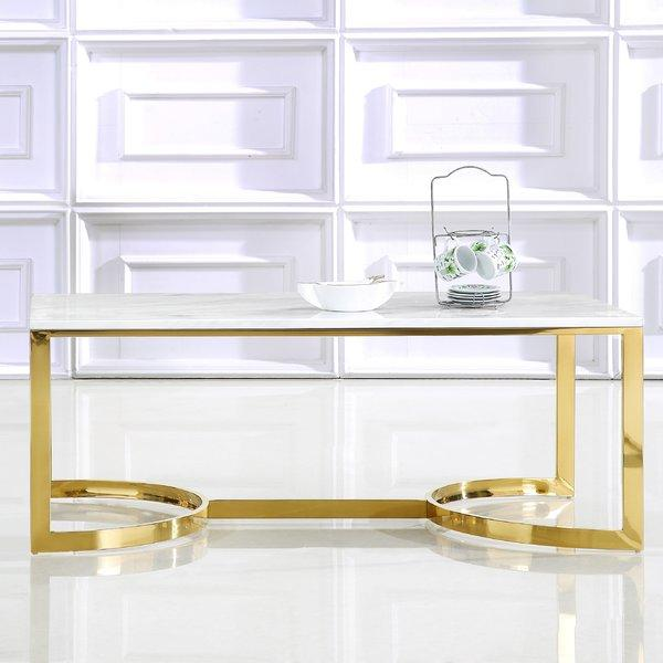 Brookside White Marble Brass Coffee Table - Geometric marble coffee table