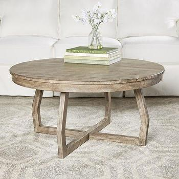 Lacquered Elm Round Coffee Table In White
