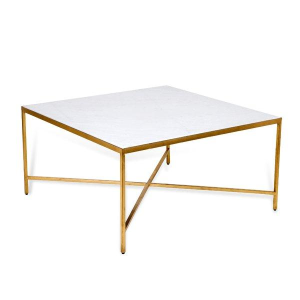 Marble Top Brass Coffee Table.Carson Square Marble Brass Coffee Table