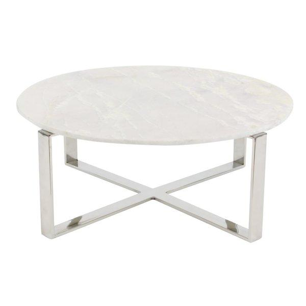 Annette Round Marble Brass Coffee Table - Oval shaped marble coffee table