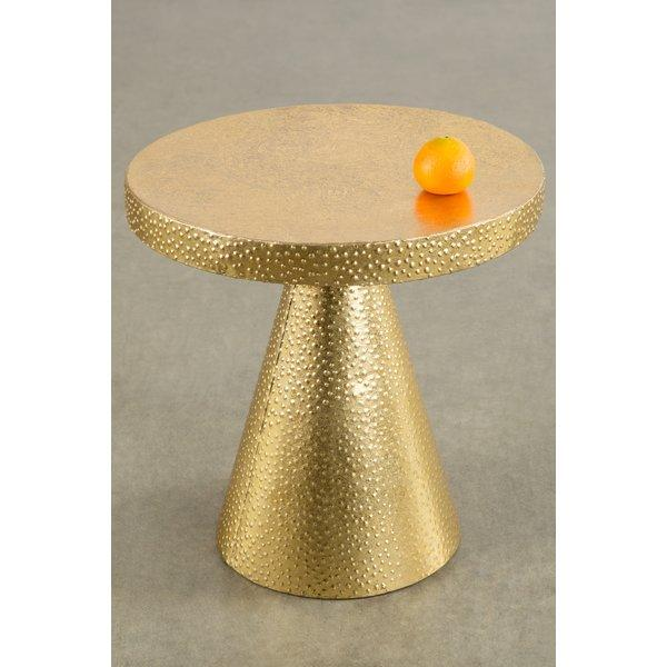 Vogue Round Gold Hammered Pedestal End Table